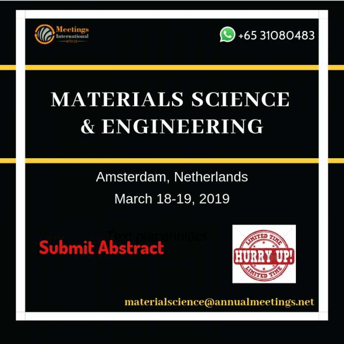 Materials Science 2019 will be the world best platform for all the eminent scientific professionals, students, interns, industrial delegates and research organizations to share their research and experience in the field of Materials Science & Engineering.