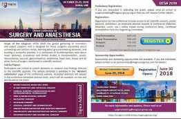 "We would like to invite speakers and delegates from all over the world to ""Global Conference on Surgery and Anesthesia "" (GCSA 2019) during October 21-23, 2019 at.  Dubai, UAE"